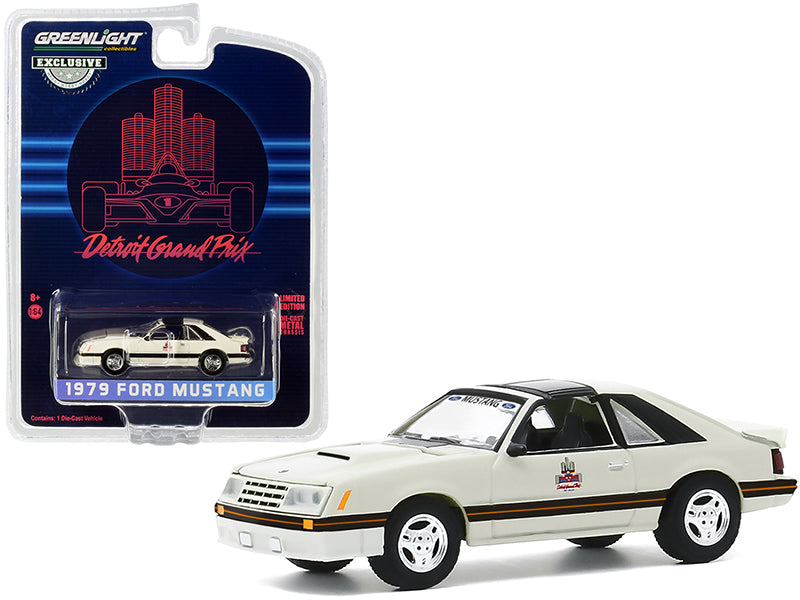 "1979 Ford Mustang Official Pace Car \1982 Detroit Grand Prix"" \""Hobby Exclusive\"" 1/64 Diecast Model Car by Greenlight"""