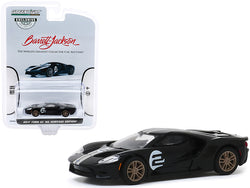 "2017 Ford GT \'66 Heritage Edition #2 Black with Silver Stripes First Legally Resold 2017 Ford GT Las Vegas 2019 (Lot #747) Barrett-Jackson \Hobby Exclusive"" 1/64 Diecast Model Car by Green"""
