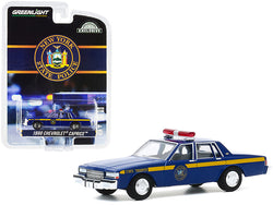 "1990 Chevrolet Caprice \New York State Police"" Blue with Yellow Stripes \""Hobby Exclusive\"" 1/64 Diecast Model Car by Greenlight"""