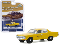 "1972 AMC Matador Yellow \Matador Cab"" Taxicab \""Hobby Exclusive\"" 1/64 Diecast Model Car by Greenlight"""