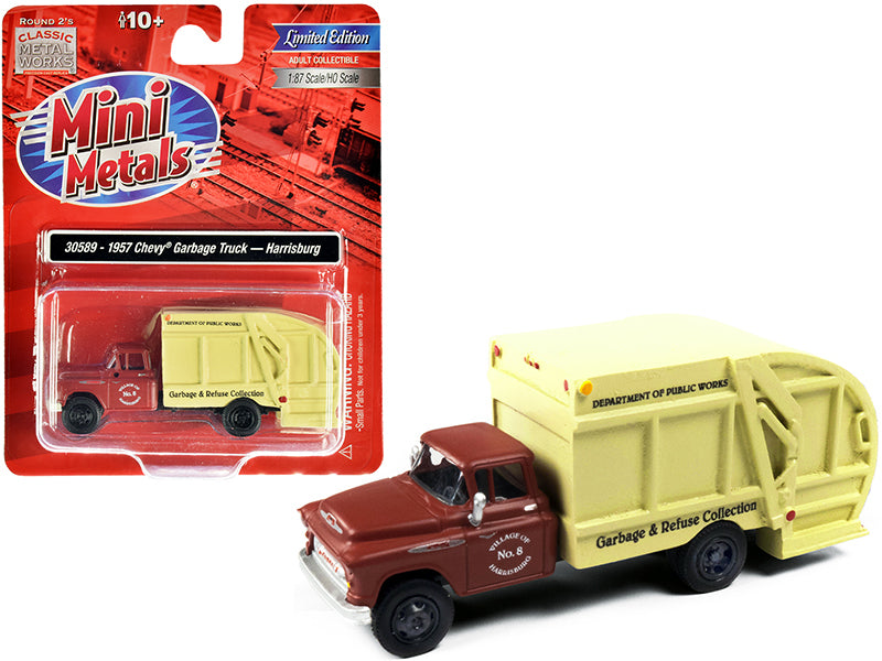 "1957 Chevrolet Garbage Truck \Harrisburg Department of Public Works"" Maroon and Yellow 1/87 (HO) Scale Model by Classic Metal Works"""