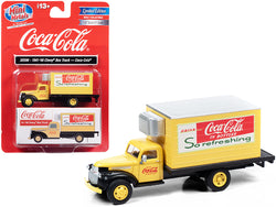 "1941-1946 Chevrolet Box Truck Yellow \Coca-Cola"" 1/87 (HO) Scale Model by Classic Metal Works"""