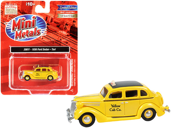 "1936 Ford Sedan Taxi \Yellow Cab Co."" Yellow with Black Top 1/87 (HO) Scale Model Car by Classic Metal Works"""
