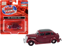 1936 Ford Sedan Maroon with Black Top 1/87 (HO) Scale Model Car