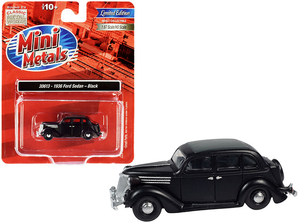 1936 Ford Sedan Black with Gray Top 1/87 (HO) Scale Model Car