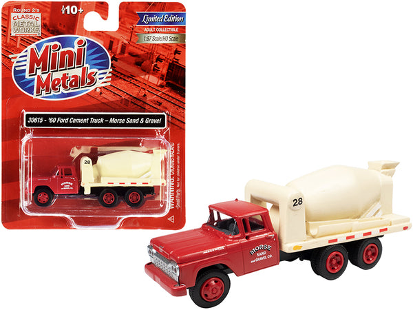 "1960 Ford Cement Mixer Truck \Morse Sand and Gravel"" Red and Cream 1/87 (HO) Scale Model by Classic Metal Works"""