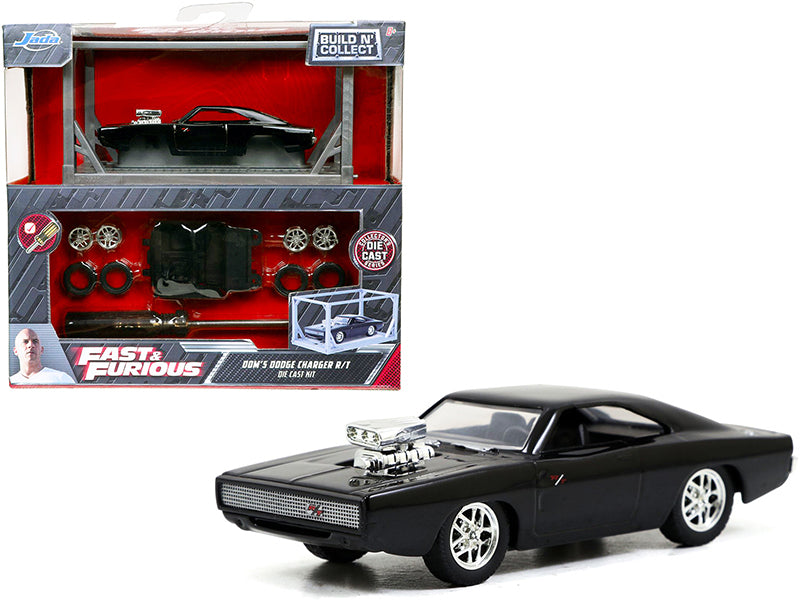"Model Kit Dom\'s Dodge Charger R/T Black \Fast & Furious"" Movie \""Build N\' Collect\"" 1/55 Diecast Model Car by Jada"""