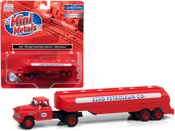 "1957 Chevrolet Truck Tractor with Tanker Trailer Red \ESSO Petroleum Co."" 1/87 (HO) Scale Model by Classic Metal Works"""