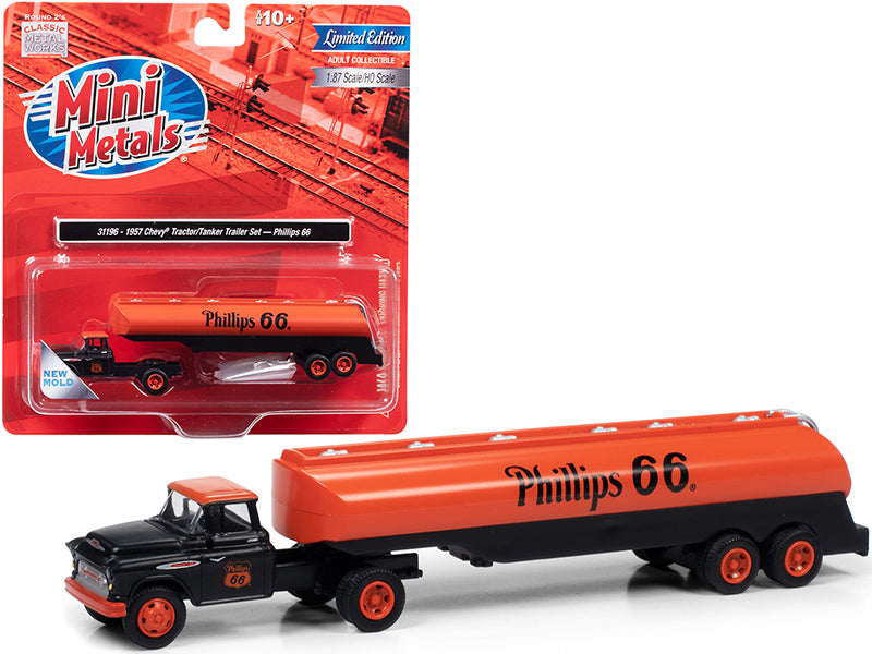 "1957 Chevrolet Truck Tractor with Tanker Trailer Black and Orange \Phillips 66"" 1/87 (HO) Scale Model by Classic Metal Works"""