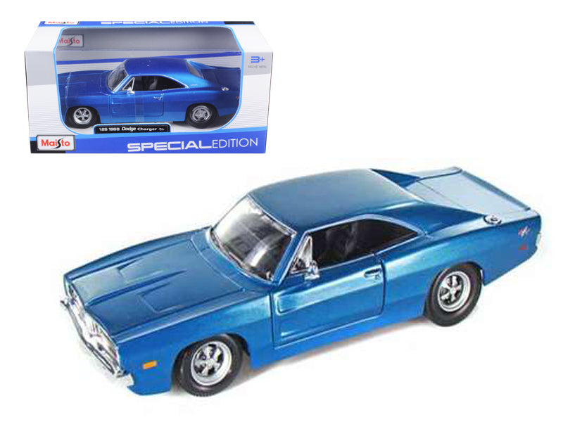1969 Dodge Charger R/T Hemi Blue 1/25 Diecast Model Car by Maisto