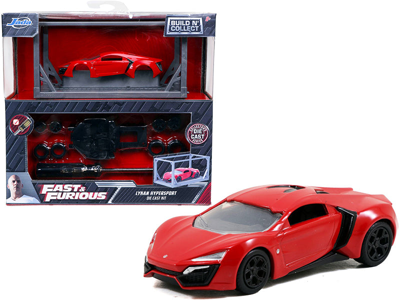 "Model Kit Lykan Hypersport Red with Black Wheels \Fast & Furious"" Movie \""Build N\' Collect\"" 1/55 Diecast Model Car by Jada"""
