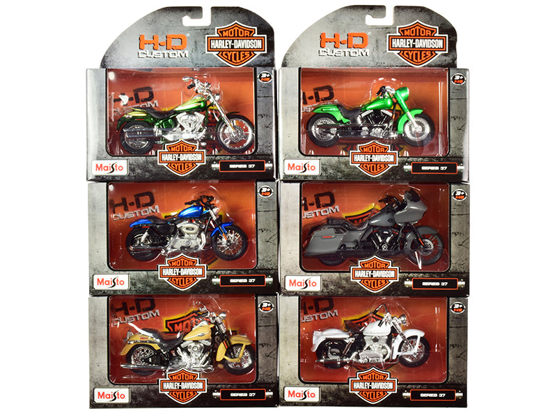Harley-Davidson Motorcycles 6 piece Set Series 37 1/18 Diecast Models by Maisto