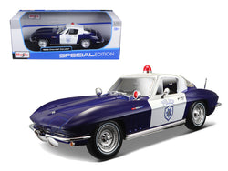 1965 Chevrolet Corvette Blue and White Police 1/18 Diecast Model Car by Maisto