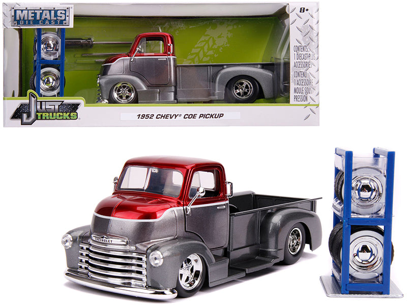 "1952 Chevrolet COE Pickup Truck Gray Metallic and Candy Red with Extra Wheels \Just Trucks"" Series 1/24 Diecast Model Car by Jada"""
