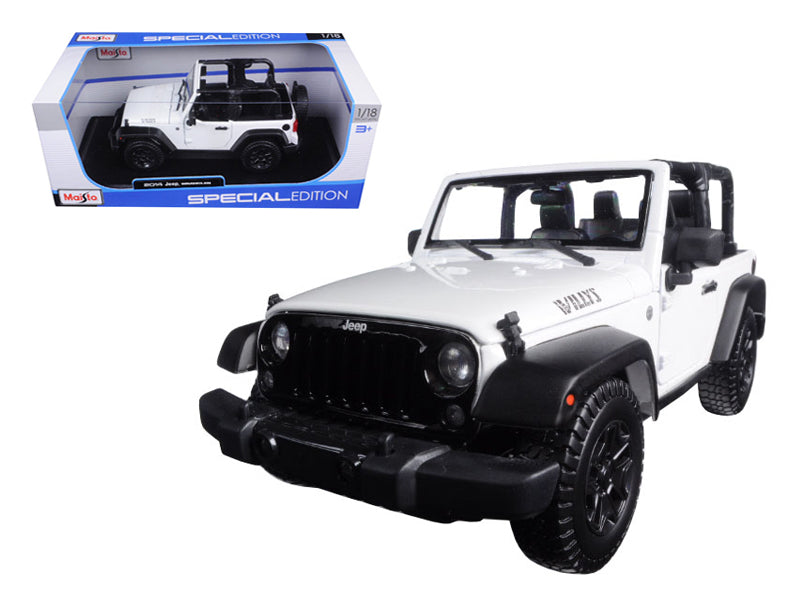 2014 Jeep Wrangler Willys White 1/18 Diecast Model Car by Maisto