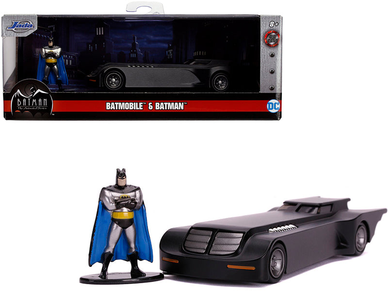"Batmobile with Diecast Batman Figurine \Batman: The Animated Series"" (1992-1995) TV Series \""DC Comics\"" \""Hollywood Rides\"" Series 1/32 Diecast Model Car by Jada"""
