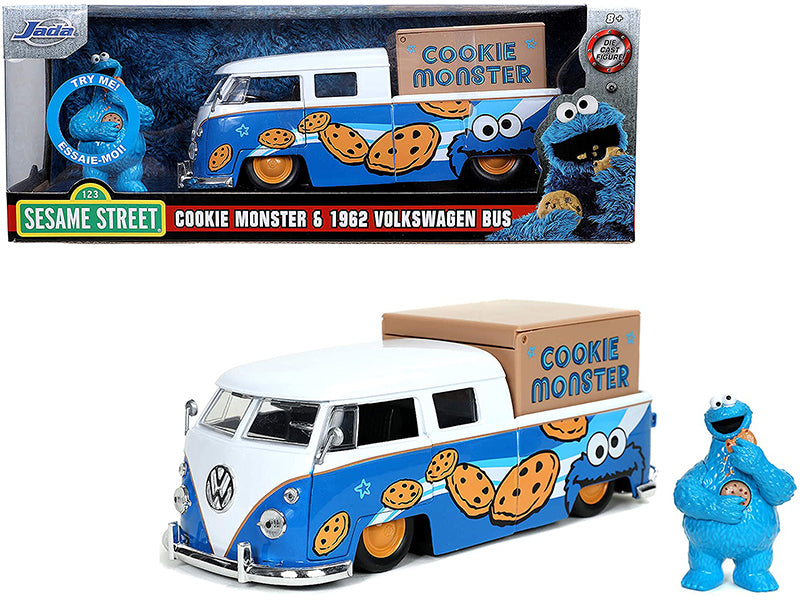 "1962 Volkswagen Pickup Bus with Cookie Monster Diecast Figurine with Sound \Sesame Street"" TV Series 1/24 Diecast Model Car by Jada"""