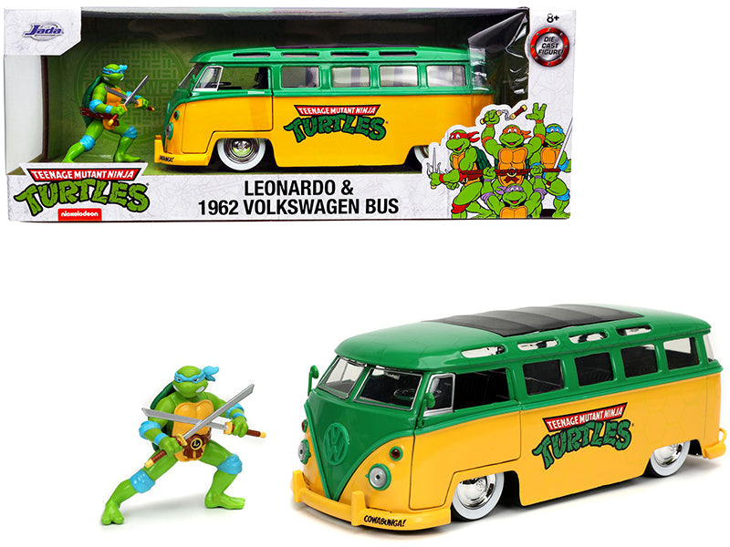 1962 Volkswagen Bus Yellow and Green with Leonardo Diecast Figurine