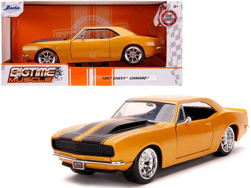 "1967 Chevrolet Camaro Orange Metallic with Black Stripes \Bigtime Muscle"" 1/24 Diecast Model Car by Jada"""