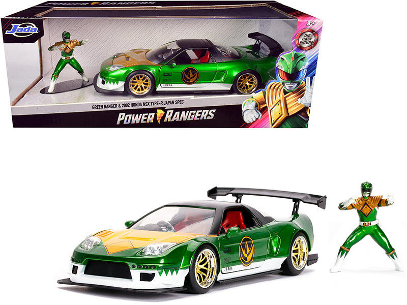 "2002 Honda NSX Type-R Japan Spec and Green Ranger Diecast Figurine \Power Rangers"" 1/24 Diecast Model Car by Jada"""