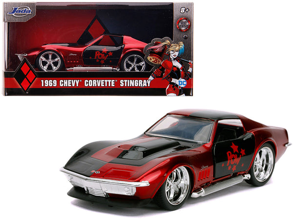 "1969 Chevrolet Corvette Stingray \Harley Quinn"" \""DC Comics\"" \""Hollywood Rides\"" Series 1/32 Diecast Model Car by Jada"""