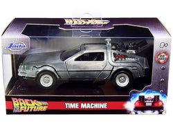 "DeLorean DMC (Time Machine) Silver \Back to the Future Part I"" (1985) Movie \""Hollywood Rides\"" Series 1/32 Diecast Model Car by Jada"""