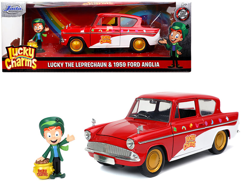 1959 Ford Anglia Red and White with Lucky the Leprechaun Diecast Figurine