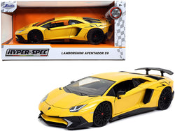 "Lamborghini Aventador SV Yellow \Hyper-Spec"" 1/24 Diecast Model Car by Jada"""
