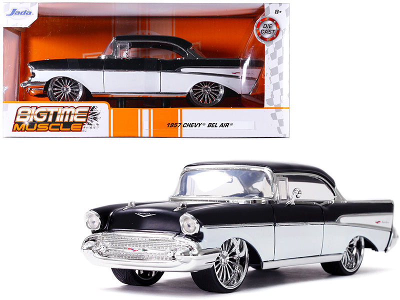 "1957 Chevrolet Bel Air Black and White \Bigtime Muscle"" 1/24 Diecast Model Car by Jada"""