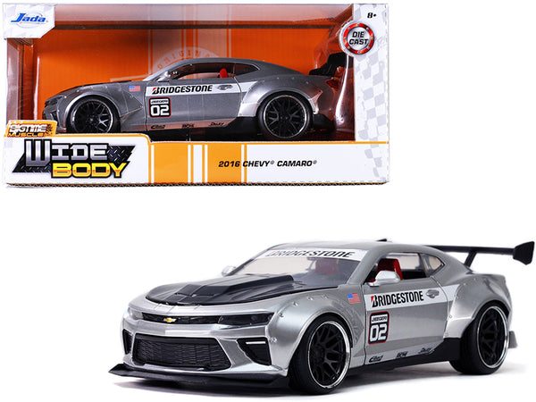 "2016 Chevrolet Camaro Widebody #02 \Bridgestone"" Silver \""Bigtime Muscle\"" 1/24 Diecast Model Car by Jada"""