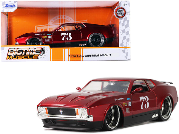"1973 Ford Mustang Mach 1 #73 Red \Bigtime Muscle"" 1/24 Diecast Model Car by Jada"""
