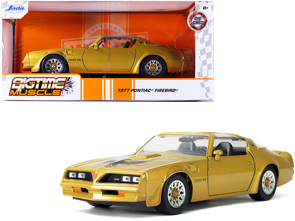 "1977 Pontiac Firebird Trans Am T/A Gold with Hood Bird \Bigtime Muscle"" 1/24 Diecast Model Car by Jada"""