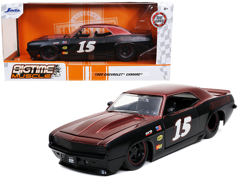 "1969 Chevrolet Camaro #15 \Jeeger"" Matt Black and Red \""Bigtime Muscle\"" 1/24 Diecast Model Car by Jada"""