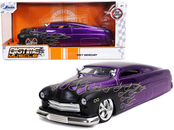 "1951 Mercury Purple with Black Flames \Bigtime Muscle"" 1/24 Diecast Model Car by Jada"""