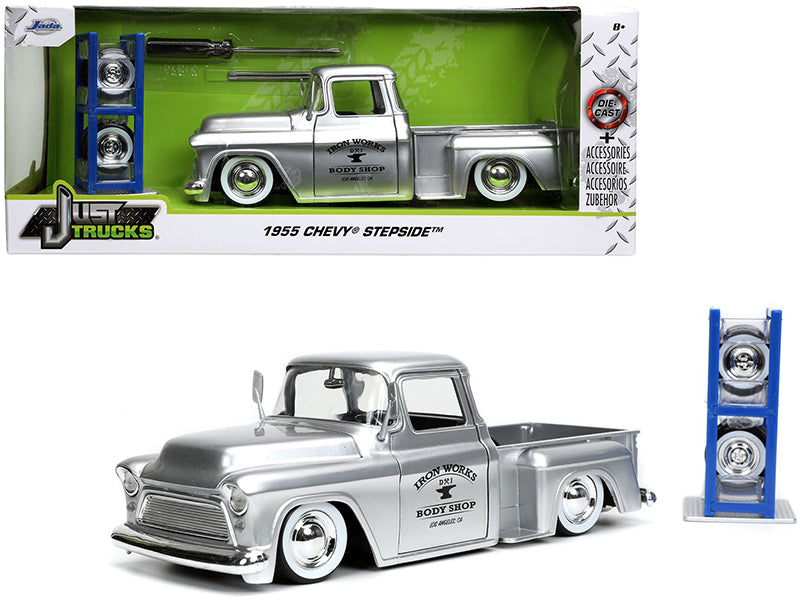 "1955 Chevrolet Stepside Pickup Truck \Iron Works Body Shop"" Silver with Extra Wheels \""Just Trucks\"" Series 1/24 Diecast Model Car by Jada"""