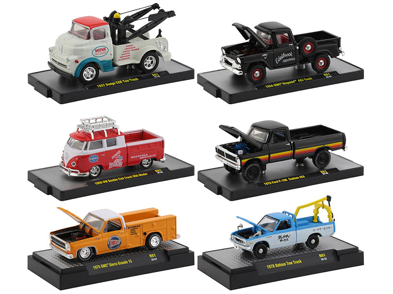 "\Auto Shows"" 6 piece Set Release 61 IN DISPLAY CASES 1/64 Diecast Model Cars by M2 Machines"""