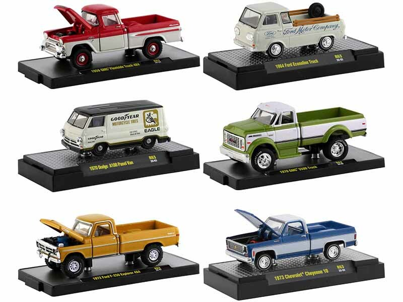 6 piece Set Release 63 IN DISPLAY CASES Limited Edition to 8875 pieces Worldwide 1/64 Diecast Model Cars by M2 Machines