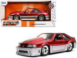"1989 Ford Mustang GT 5.0 Candy Red and Silver \Bigtime Muscle"" 1/24 Diecast Model Car by Jada"""