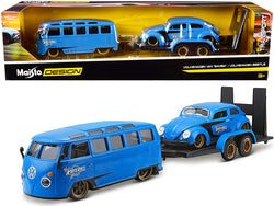 "Volkswagen Van Samba with Volkswagen Beetle and Flatbed Trailer Blue \Kool Kafers"" Set of 3 pieces \""Elite Transport\"" Series 1/24 Diecast Model Cars by Maisto"""