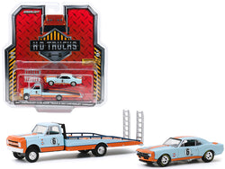 "1967 Chevrolet C-30 Ramp Truck and 1967 Chevrolet Camaro #6 \Gulf Oil"" Light Blue and Orange \""H.D. Trucks\"" Series 18 1/64 Diecast Model Cars by Greenlight"""