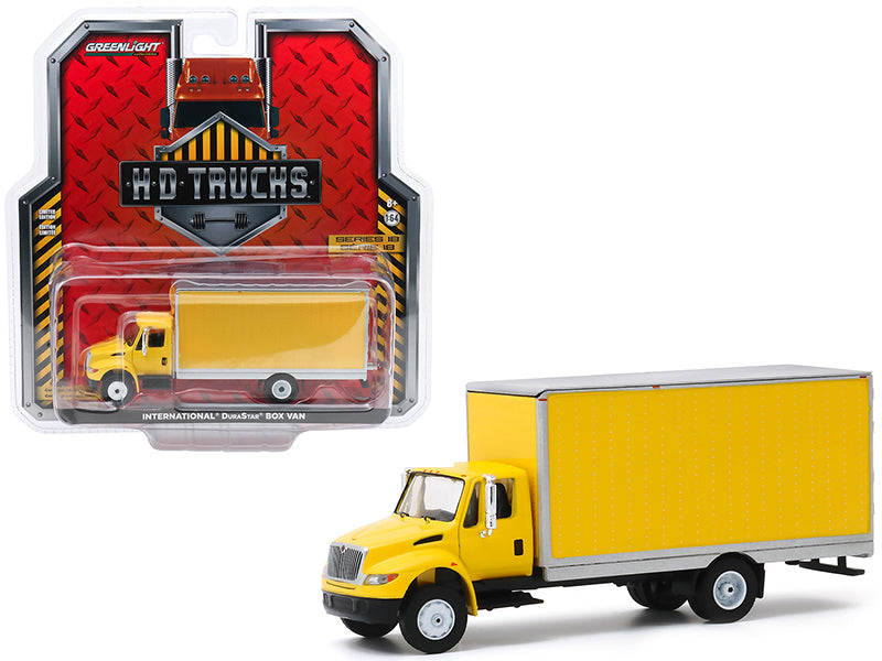 "International Durastar Box Van Yellow with Silver Trim \H.D. Trucks"" Series 18 1/64 Diecast Model by Greenlight"""