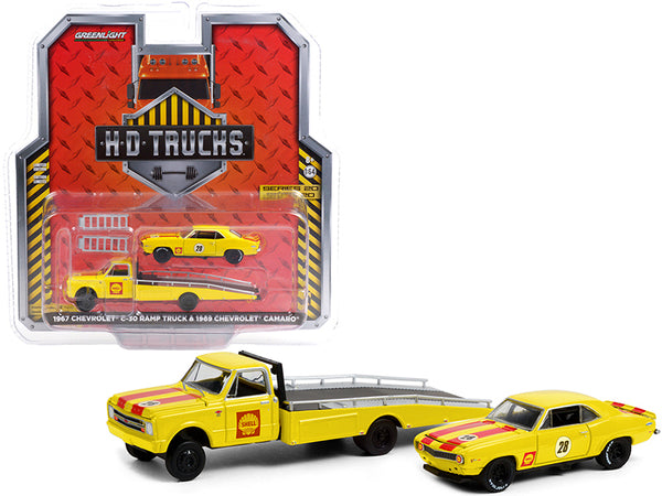 "1967 Chevrolet C-30 Ramp Truck and 1969 Chevrolet Camaro #28 \Shell Oil"" Yellow with Red Stripes \""H.D. Trucks\"" Series 20 1/64 Diecast Model Cars by Greenlight"""