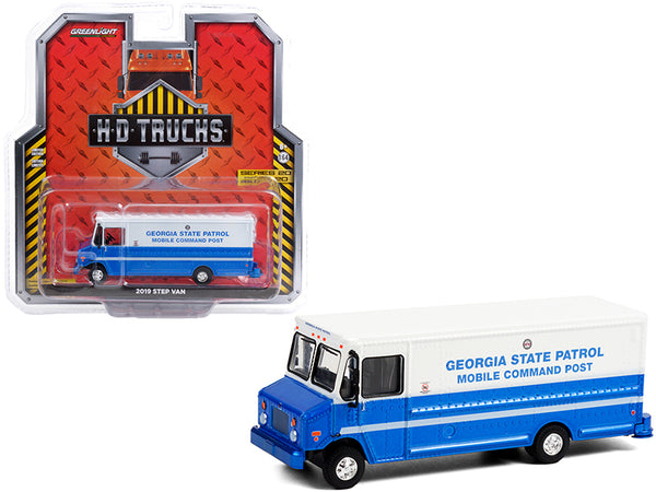 "2019 Step Van \Georgia State Patrol"" Mobile Command Post Blue and White \""H.D. Trucks\"" Series 20 1/64 Diecast Model by Greenlight"""