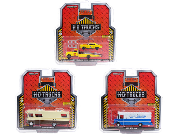 "\Heavy Duty H.D. Trucks"" Set of 3 pieces Series 20 1/64 Diecast Models by Greenlight"""