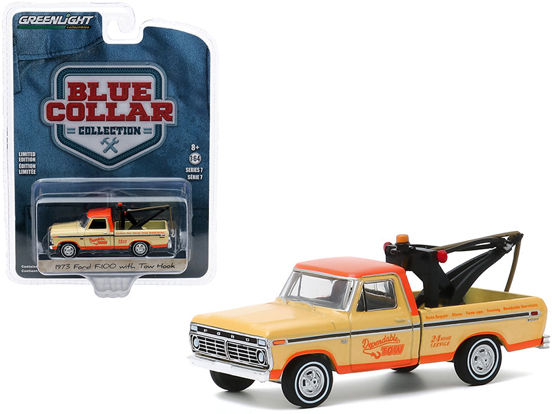 "1973 Ford F-100 Tow Truck with Tow Hook \Dependable Tow"" Yellow and Orange \""Blue Collar Collection\"" Series 7 1/64 Diecast Model Car by Greenlight"""