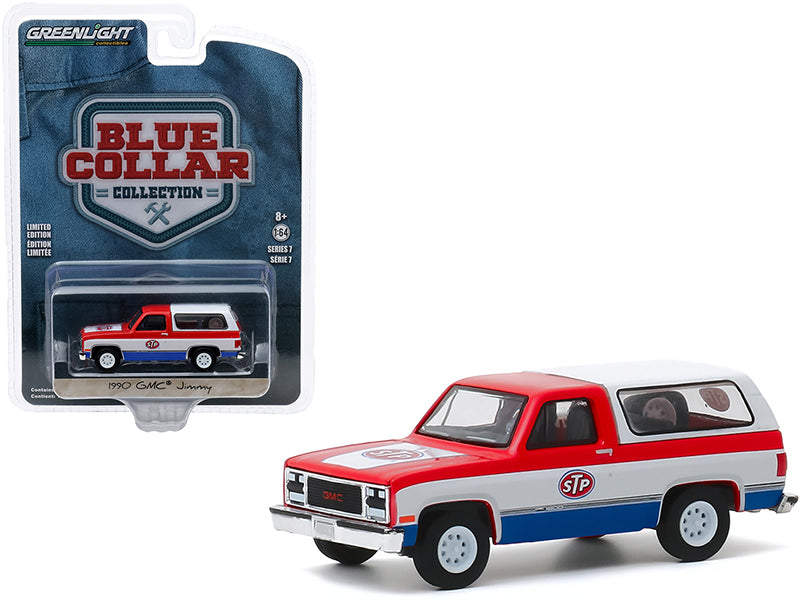 "1990 GMC Jimmy \STP"" Red and White with Blue Bottom \""Blue Collar Collection\"" Series 7 1/64 Diecast Model Car by Greenlight"""