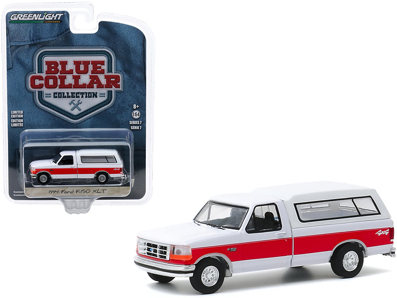 "1994 Ford F-150 XLT 4x4 Pickup Truck with Camper Shell White with Red Stripe \Blue Collar Collection"" Series 7 1/64 Diecast Model Car by Greenlight"""