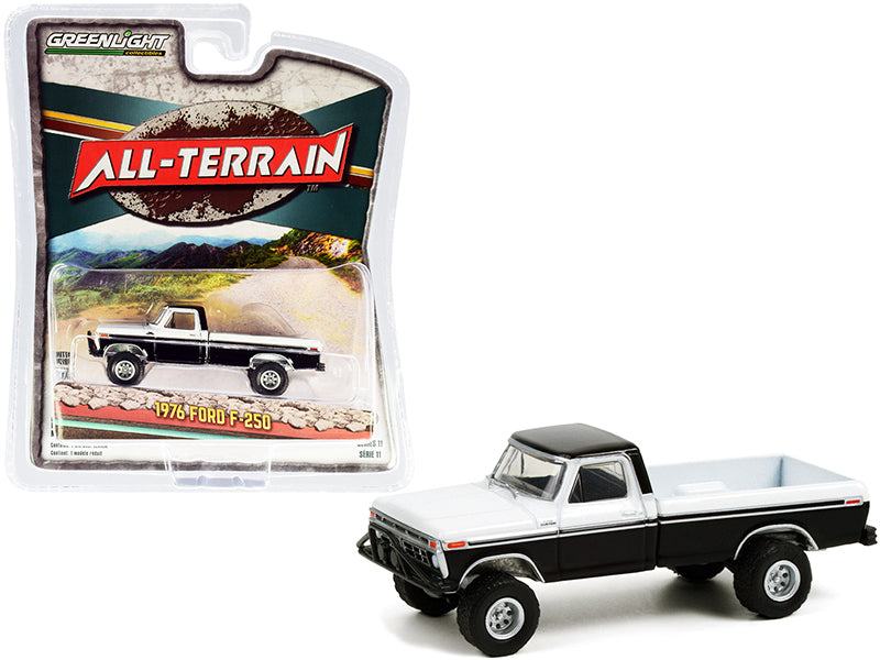 "1976 Ford F-250 Custom Pickup Truck with Off-Road Parts Black and White \All Terrain"" Series 11 1/64 Diecast Model Car by Greenlight"