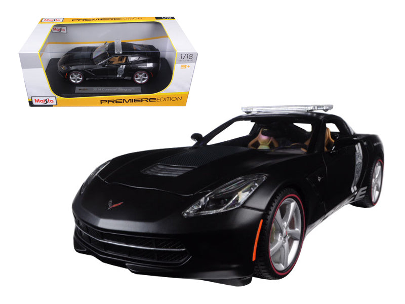 2014 Chevrolet Corvette C7 Stingray Police Matt Black 1/18 Diecast Model Car by Maisto