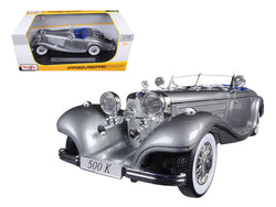 936 Mercedes 500K Special Roadster Grey 1/18 Diecast Model Car by Maisto